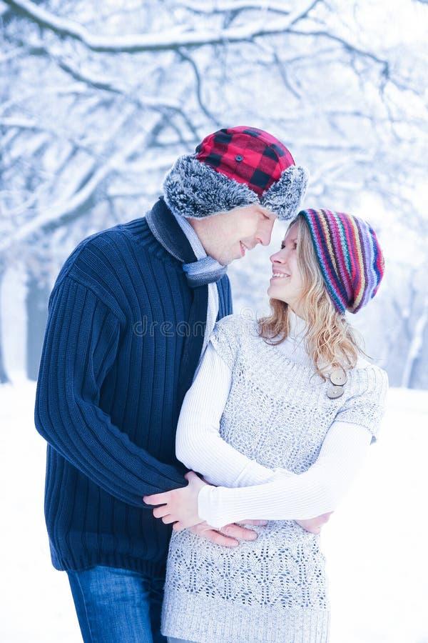 Elegancka piękna para w zima parku na natury tle obraz stock
