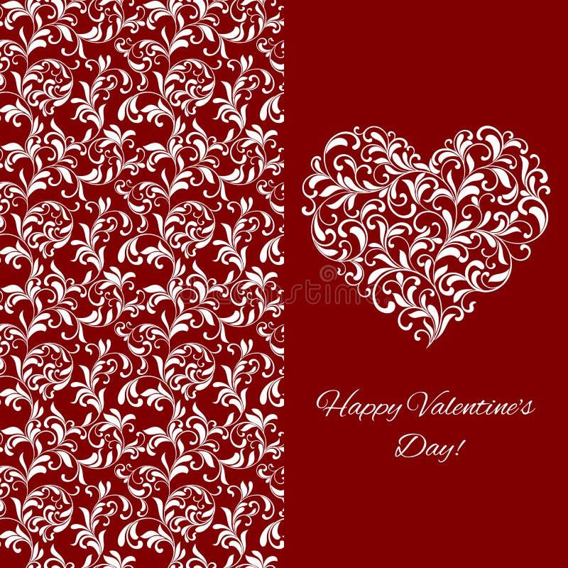 Elegancka powitanie pocztówka dla walentynka dnia Serce od kwiecistego ornamentu ilustracja wektor