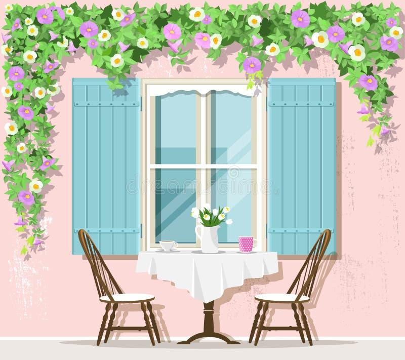 Elegancka Provence uliczna cukierniana powierzchowność: okno, stół i krzesła, również zwrócić corel ilustracji wektora ilustracja wektor