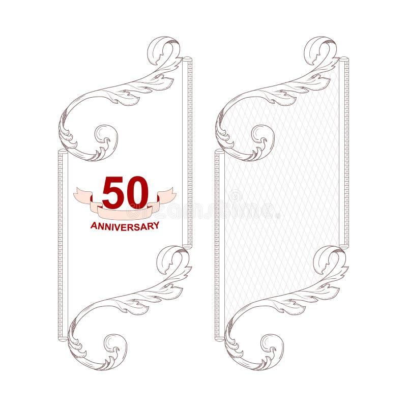 Elegancka rocznika bielu rama w dwa wersjach dla projekta dla rocznicy ornament zrobi w wiktoriański stylu Dla projekta ilustracja wektor