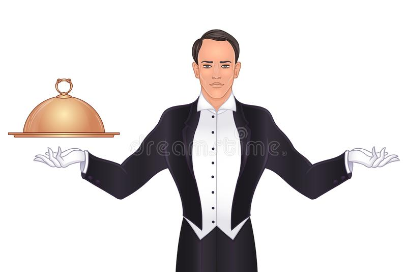 Elegancka rocznika kelnera pozycja z tacy i metalu cloche dekla pokrywą pojęcie najlepszy propozycje i usługa ilustracja wektor