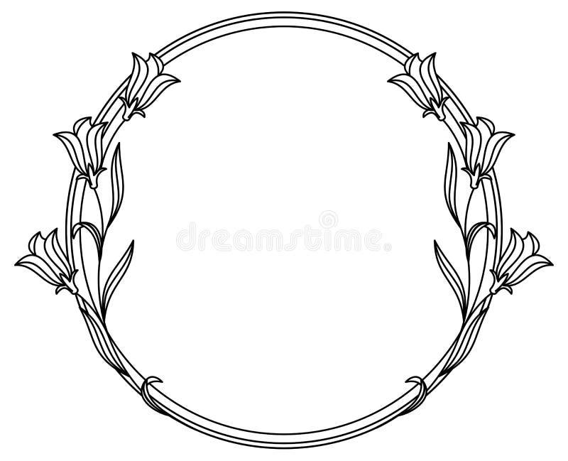 Elegancka round rama z bluebells royalty ilustracja