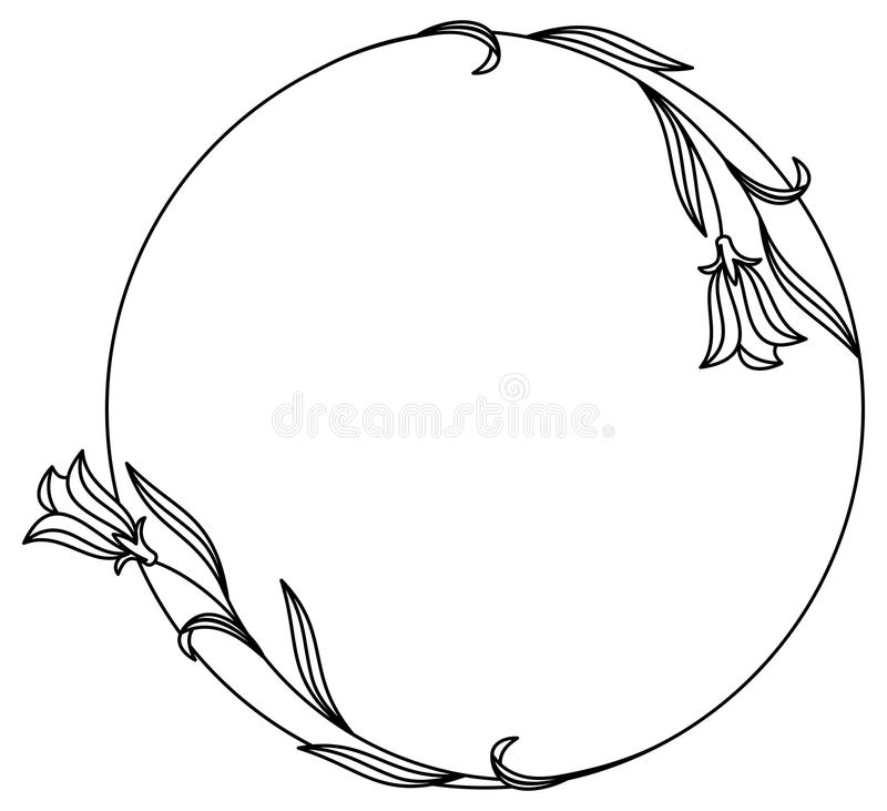Elegancka round rama z bluebells i motylem royalty ilustracja