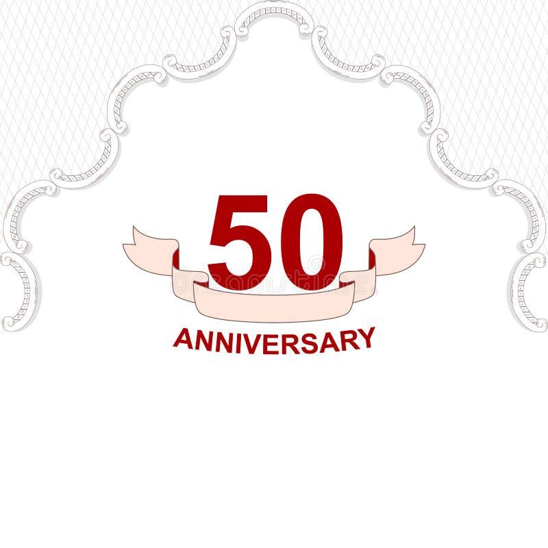 Elegancka stara biel karta dla zaproszenia 50 rocznica ornament wykonuje w Wiktoriańskim stylu Dla projekta i prin ilustracja wektor
