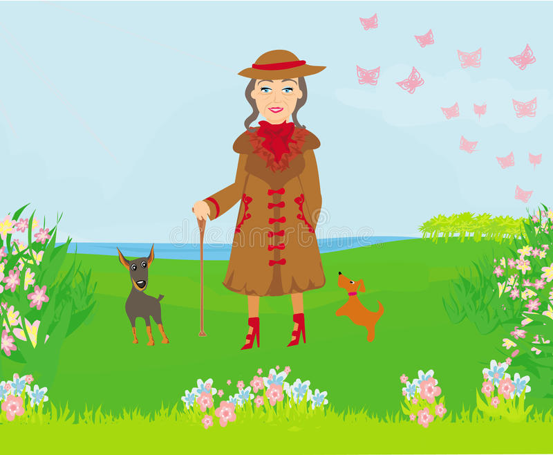 Elegancka stara kobieta na spacerze z ona psy ilustracji