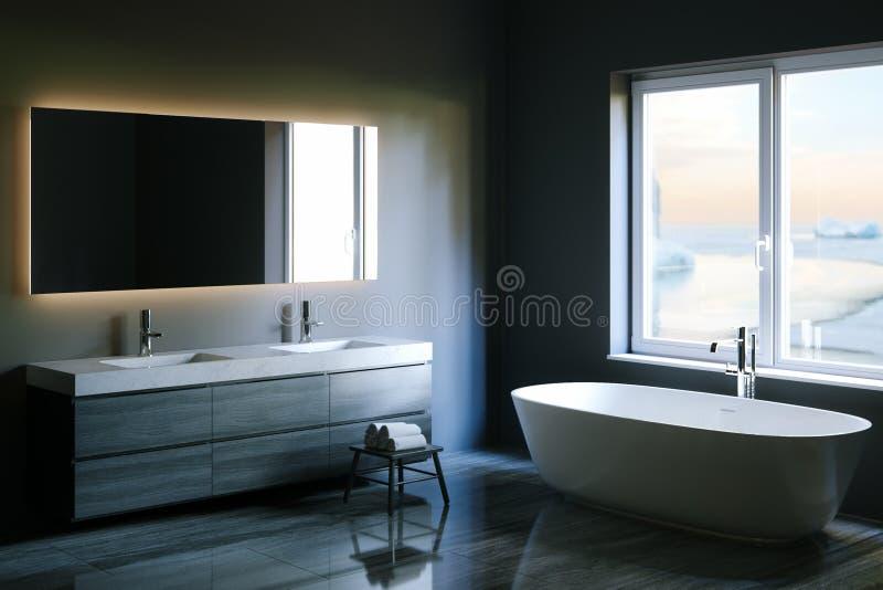 Elegancka techniki łazienka z dużym okno 3 d czynią ilustracji