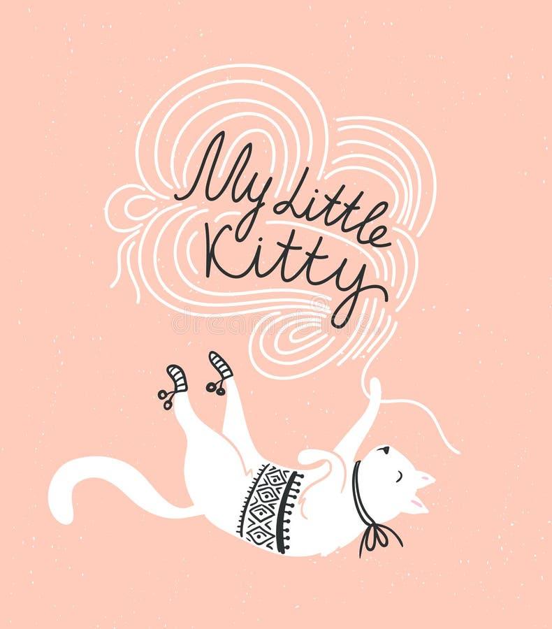 Elegancka wektor karta z ślicznym białym kotem i elegancki literowanie 'mój mała kiciunia' royalty ilustracja