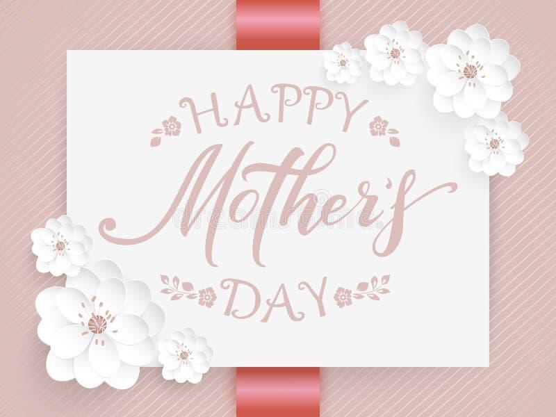 Elegancka wektorowa Szczęśliwa matka dnia karta Wektorowa zaproszenie karta z tłem i rama z kwiatów elementami i ilustracji