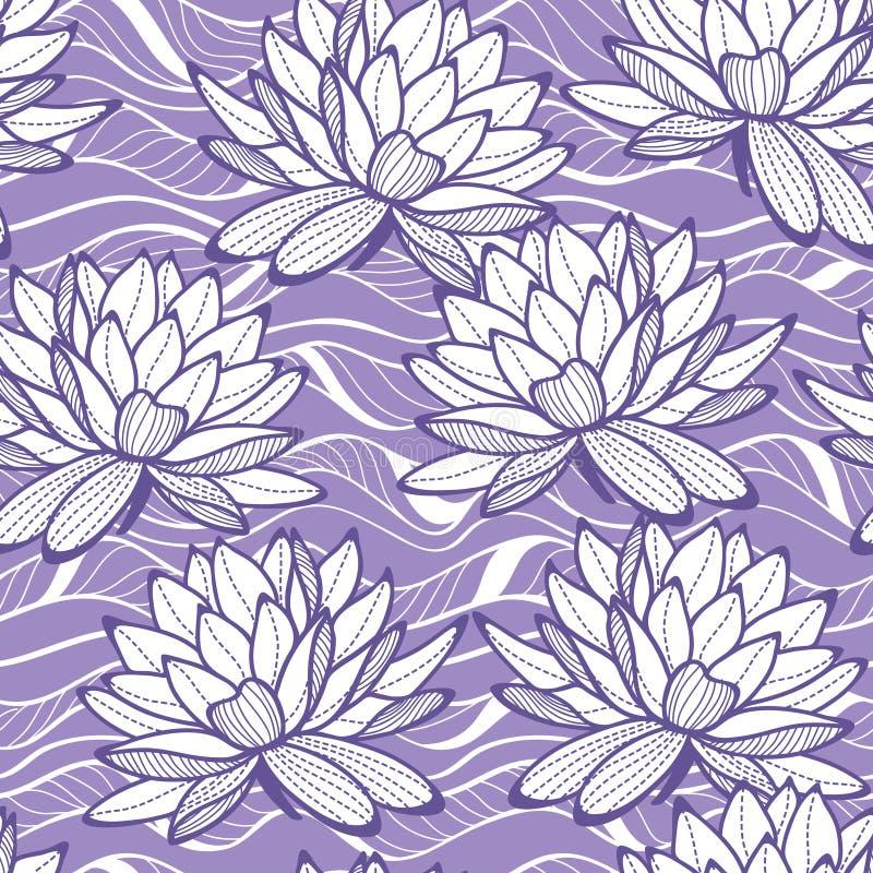 Elegancka wodna leluja kwitnie bezszwowego ornament zdjęcie stock