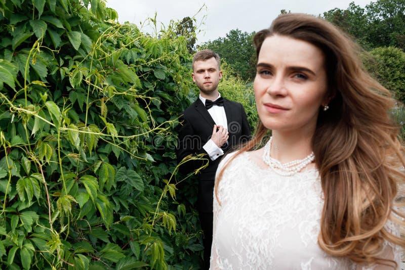 Elegancka wspaniała panna młoda i elegancki fornal pozuje w parku zdjęcie royalty free