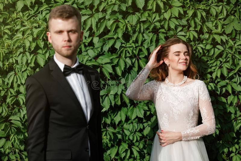 Elegancka wspaniała panna młoda i elegancki fornal pozuje w parku fotografia royalty free