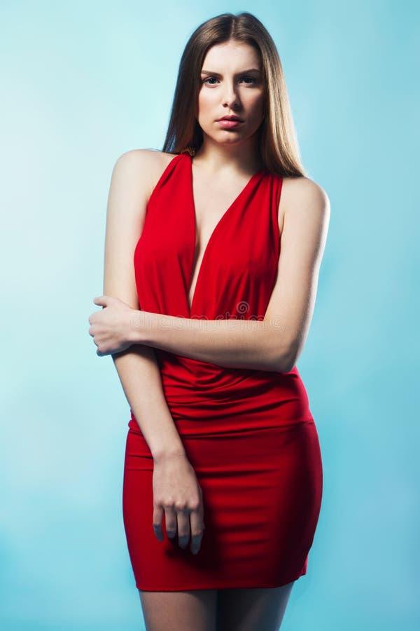elegancka wspaniała togi modela czerwień obraz stock