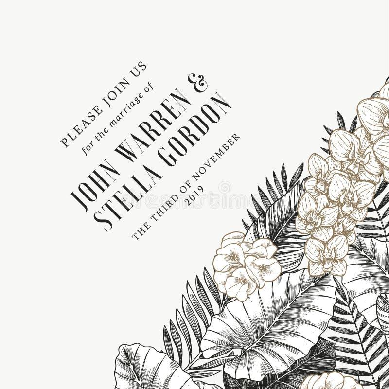 Elegancki ślubny zaproszenie z egzotów liśćmi i kwiatami Karcianego projekta szablon również zwrócić corel ilustracji wektora royalty ilustracja
