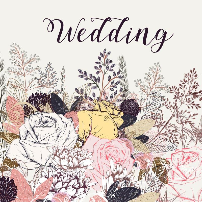 Elegancki ślubu save daktylowa karta z wzrastał kwiaty w pastelu c ilustracja wektor