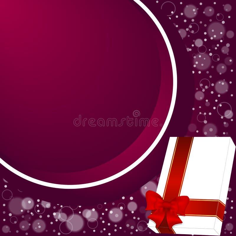 Elegancki świąteczny czerwony tło z kółkowym faborkiem i biały pudełko z pokojem dla teksta royalty ilustracja