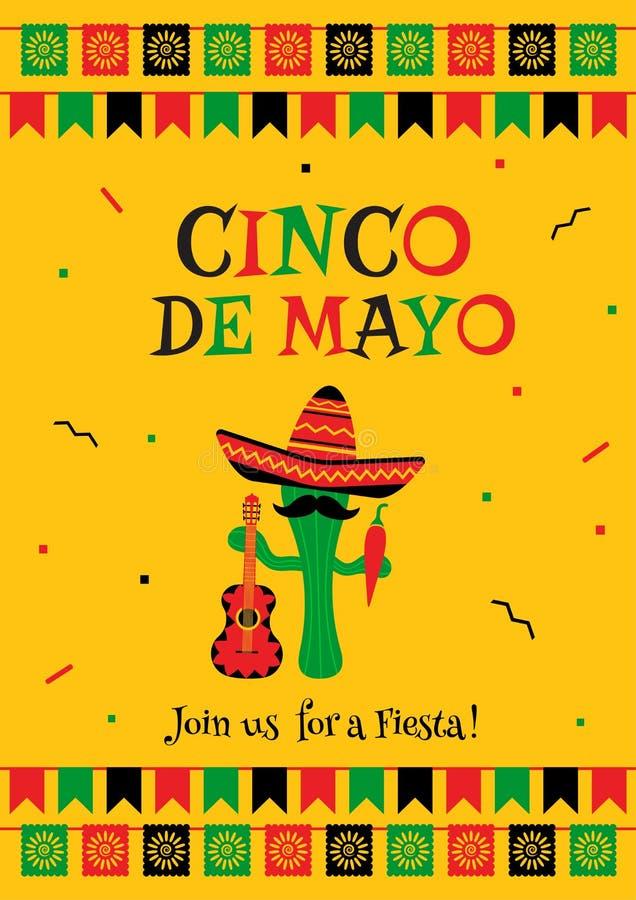 Elegancki żółty cinco de Mayo przyjęcia karty zaproszenie