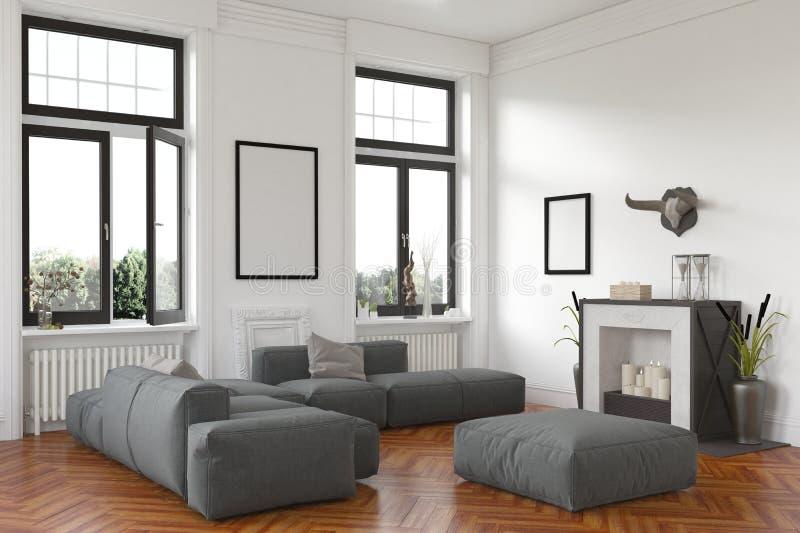 Elegancki żywy izbowy wnętrze z grabą royalty ilustracja