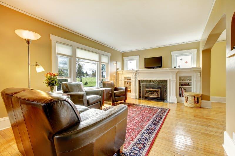 Elegancki żywy pokój z rzemiennym meble setem. zdjęcie royalty free