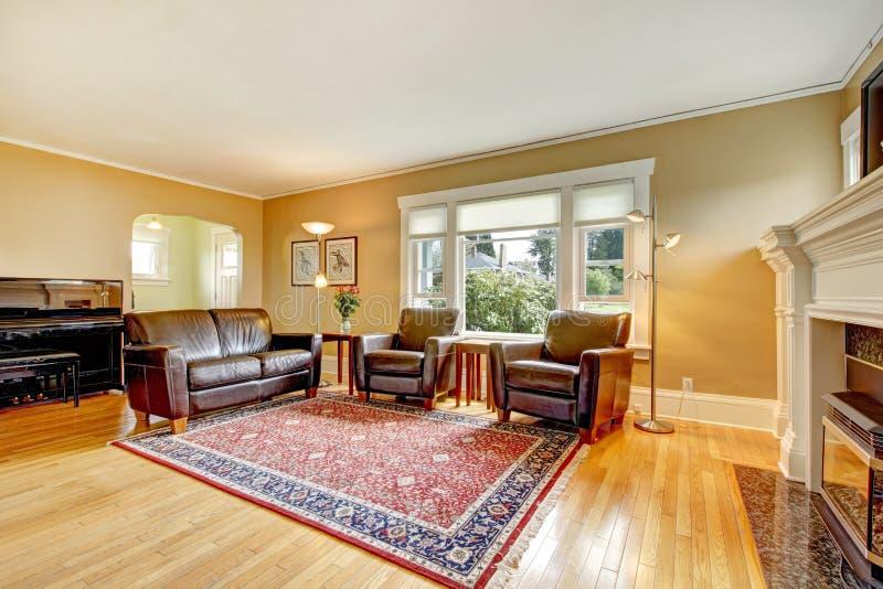 Elegancki żywy pokój z rzemiennym meble setem. zdjęcia stock