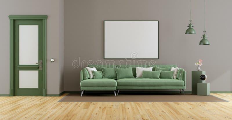 Elegancki żywy pokój z zieloną kanapą ilustracji