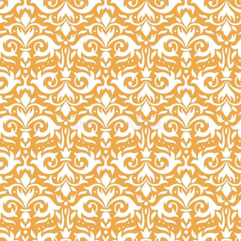 Elegancki adamaszka wzór Ozdobni kwieciści sprigs, złoty barokowy ornament i luksusowych ornamentacyjnych kwiatów bezszwowy wekto ilustracja wektor