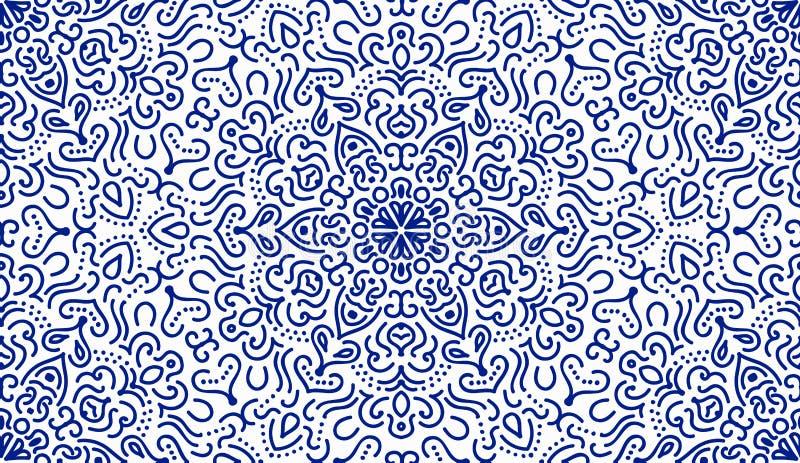 Elegancki Błękitny kwiat linii wzór royalty ilustracja