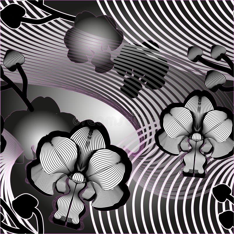 Elegancki bezszwowy kwiecisty wzór z orchideami royalty ilustracja