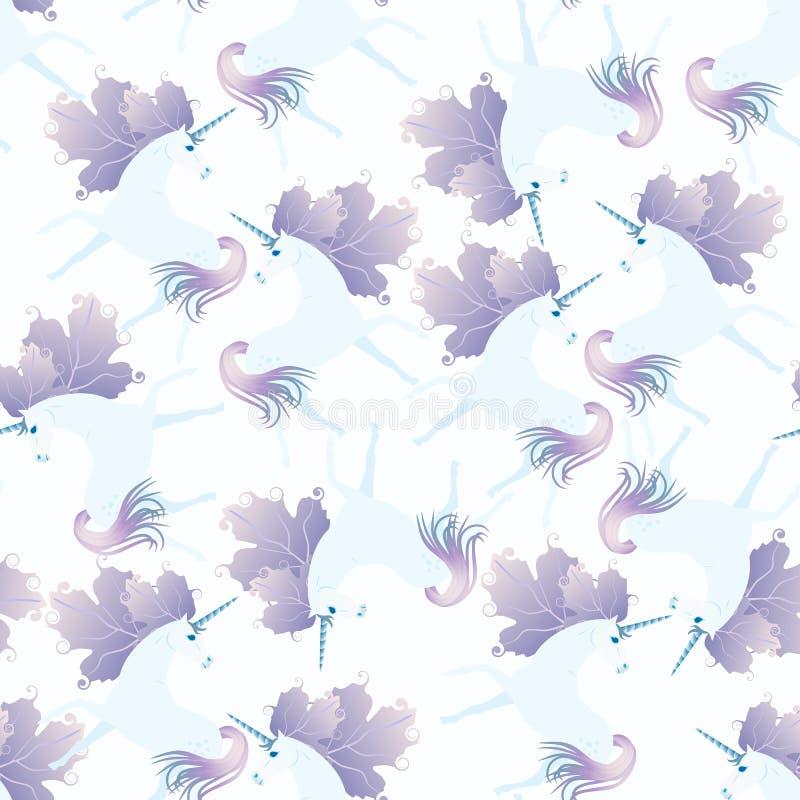 Elegancki bezszwowy wzór z ślicznymi jednorożec z grzywą w kształcie jesień liście Druk dla tkaniny ilustracja wektor