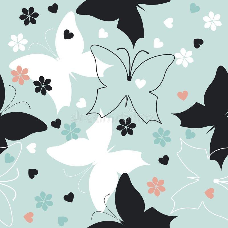 Elegancki bezszwowy wzór z ślicznymi motylami, kwiaty i słucha ilustracja wektor