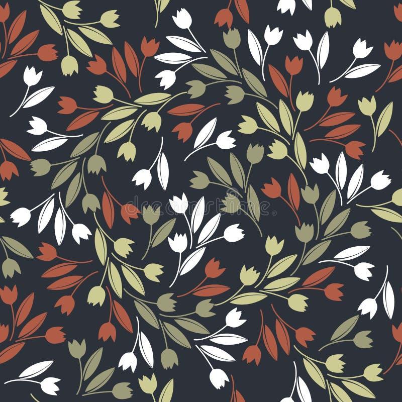 Elegancki bezszwowy wzór z czerwieni, zieleni i bielu tulipanów isolat, ilustracja wektor