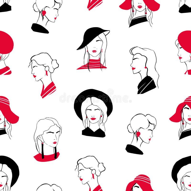 Elegancki bezszwowy wzór z głowami piękne eleganckie młode damy Tło z z klasą modnymi kobietami na bielu ilustracji