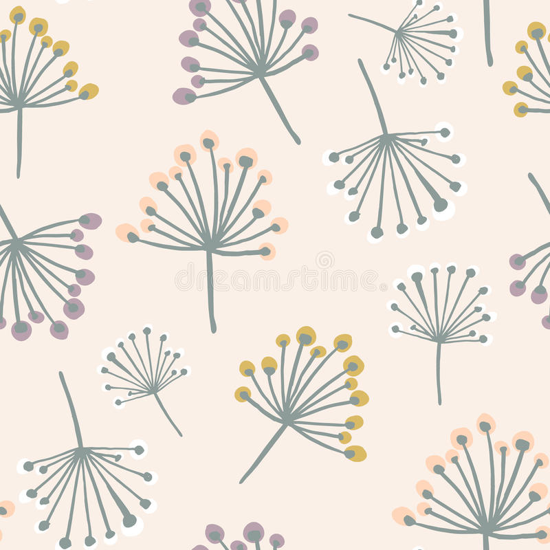 Elegancki bezszwowy wzór z kwiat gałąź w pastelowych kolorach Skandynawa stylowy tło Wielki dla tkaniny, tkanina, wallp ilustracja wektor