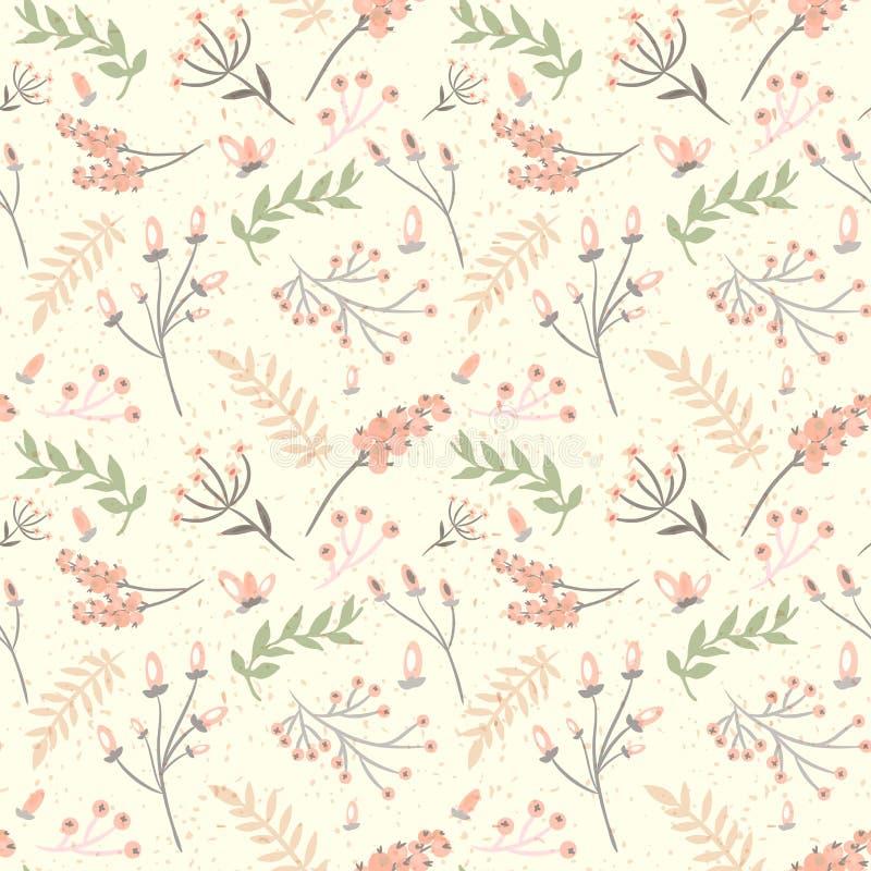 Elegancki bezszwowy wzór z kwiatami, wektorowa ilustracja ilustracja wektor