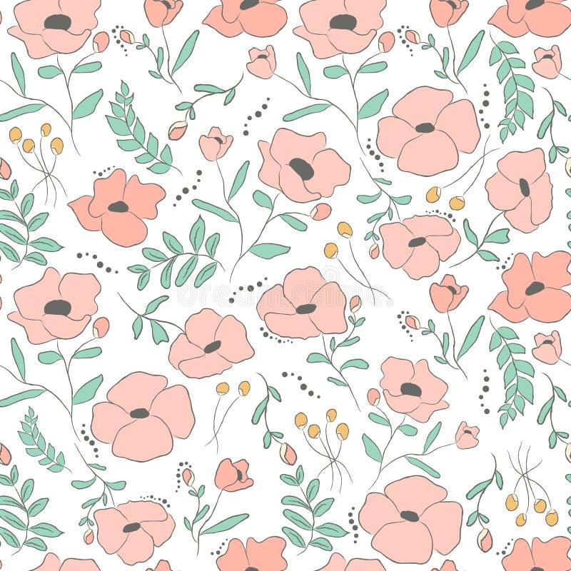 Elegancki bezszwowy wzór z kwiatami, wektorowa ilustracja ilustracji