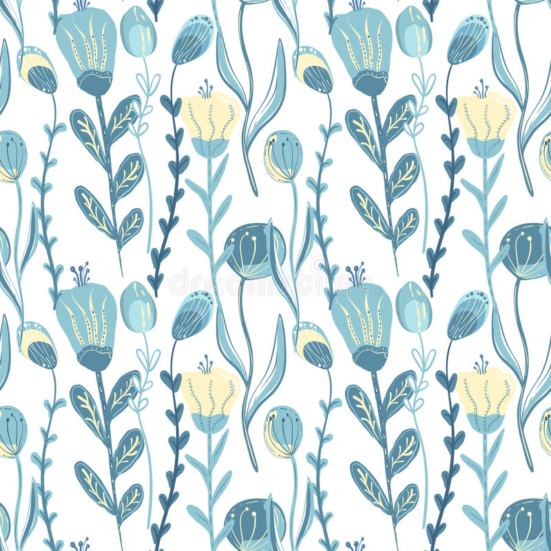 Elegancki bezszwowy wzór z kwiatami, wektorowa ilustracja royalty ilustracja