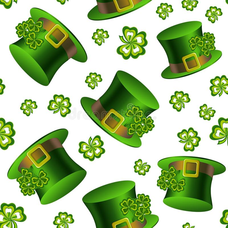 Elegancki bezszwowy wzór z leprechaun kapeluszami i koniczyna liśćmi ilustracji