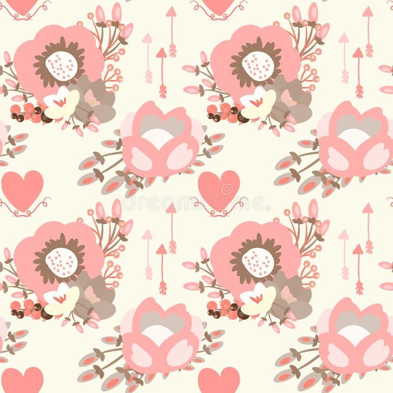 Elegancki bezszwowy wzór z okwitnięcie kwiatami ilustracja wektor