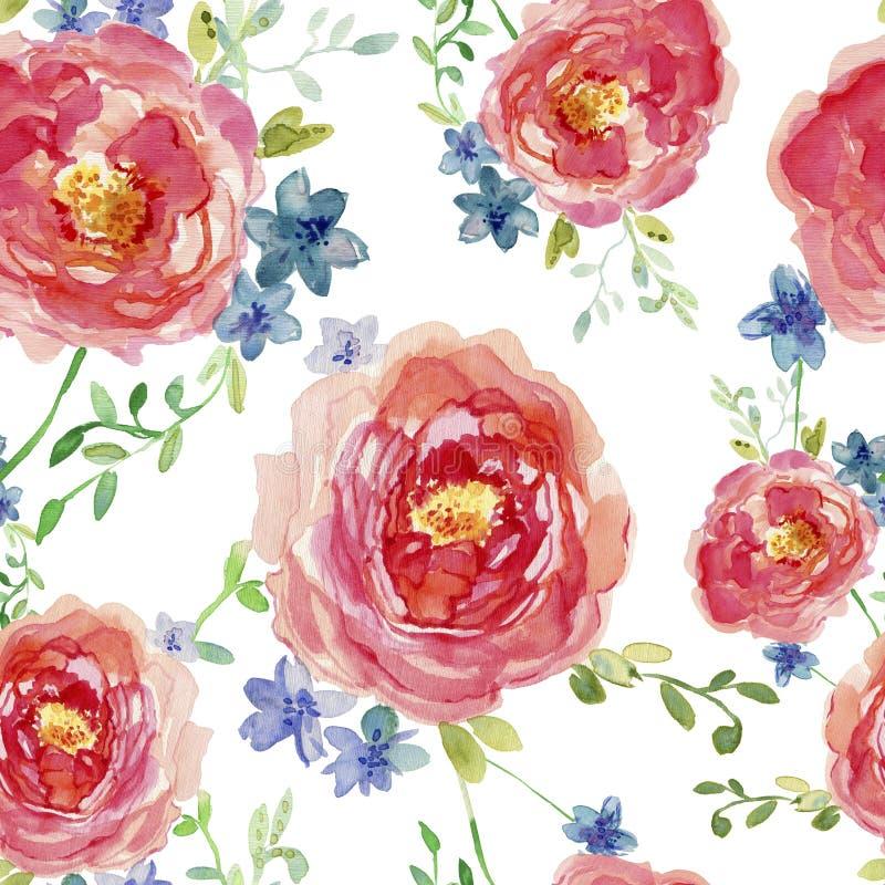 Elegancki bezszwowy wzór z ręka rysujący dekoracyjnym wzrastał kwiaty, projektów elementy Kwiecisty wzór dla ślubnych zaproszeń,  royalty ilustracja