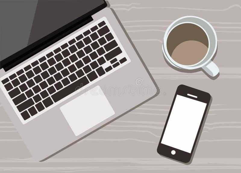 Elegancki biurko z filiżanka kawy, handphone i laptopu wektorowym płaskim projektem, royalty ilustracja