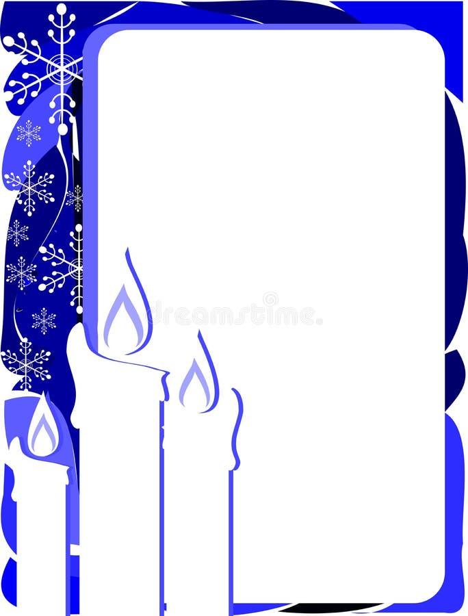 Elegancki Bożenarodzeniowy kartka z pozdrowieniami w błękicie z świeczkami royalty ilustracja