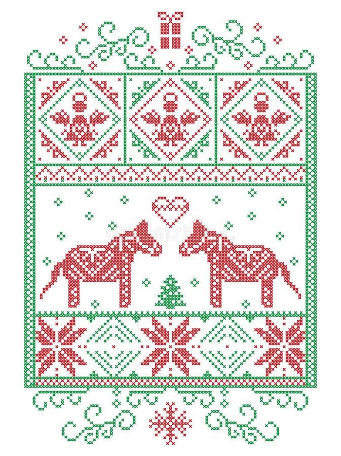 Elegancki Bożenarodzeniowy skandynaw, Północny stylowy zima krzyża ściegu wzór wliczając płatka śniegu, serce, Dala koń, choinka royalty ilustracja