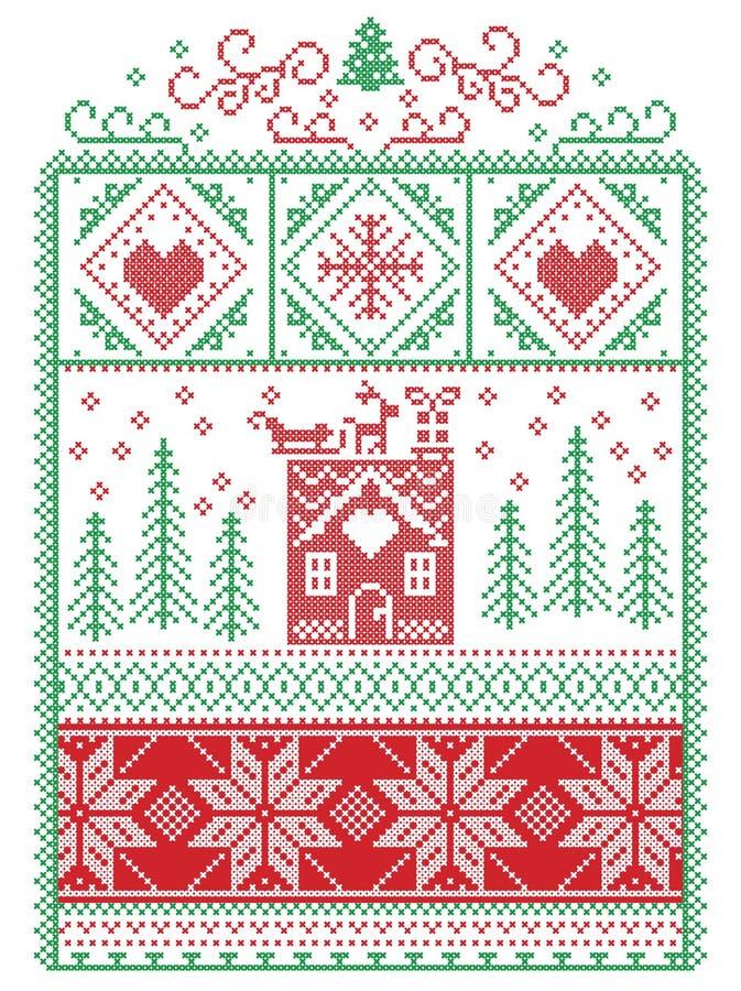 Elegancki Bożenarodzeniowy skandynaw, Północny stylowy zimy zaszywanie, wzór wliczając płatka śniegu, serce, renifer, sanie, miod royalty ilustracja