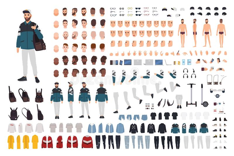 Elegancki brodaty mężczyzna w modnym ulica stylu stroju DIY zestawie Plik części ciałe, przypadkowi ubrania, fryzury, akcesoria royalty ilustracja