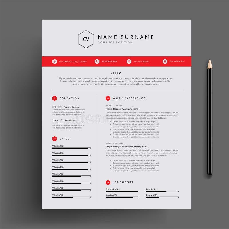 Elegancki CV, życiorysu projekta szablonu czerwony wektorowy szablon/ ilustracji