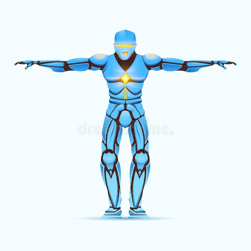 Elegancki cyborga m??czyzna Humanoid robot z sztuczn? inteligencj?, AI charakter pokazuje gesty Android samiec, futurystyczna ilustracja wektor