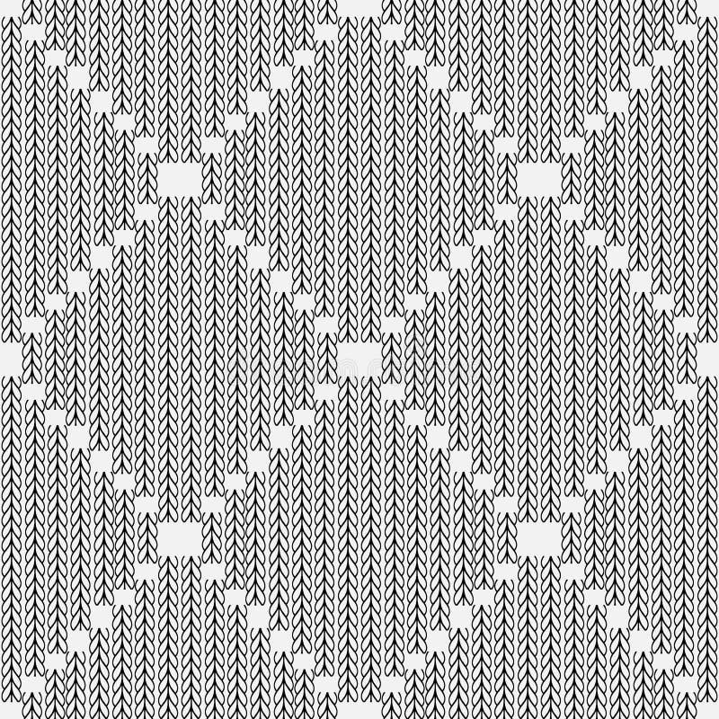 Elegancki czarny i biały trykotowy bezszwowy wzór Ornamentacyjny abs royalty ilustracja