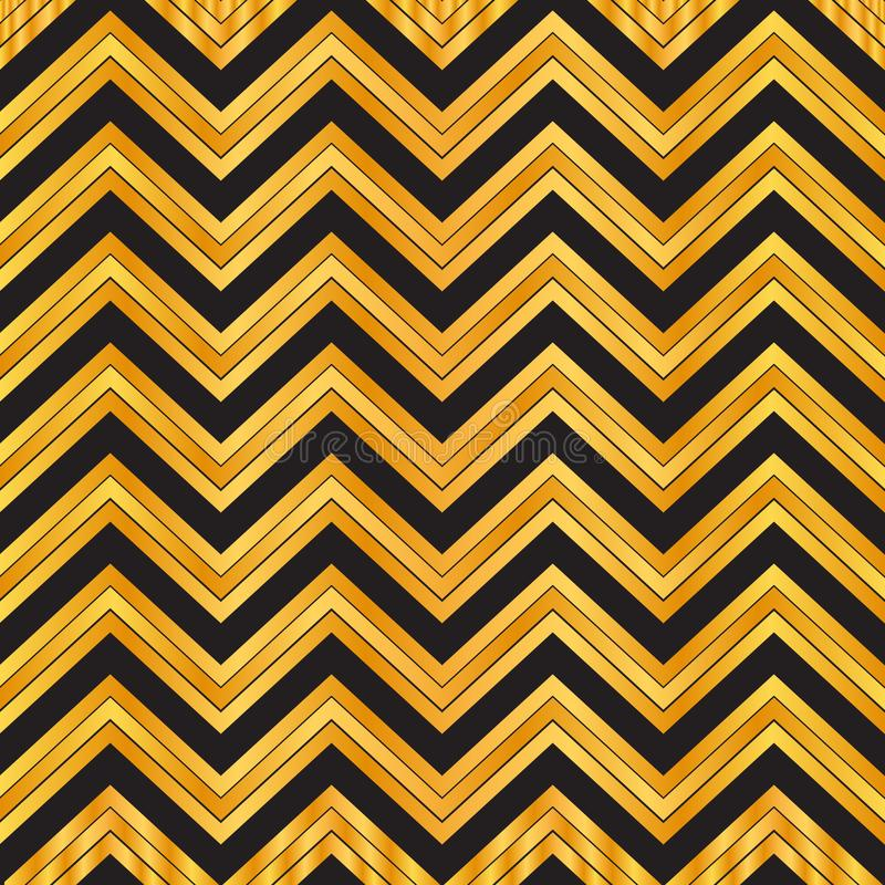 Elegancki czarny i złocisty geometryczny bezszwowy zygzakowaty wzór szewronu deseniowy tło, opakunkowy papier, tkanina wzór, tape ilustracja wektor
