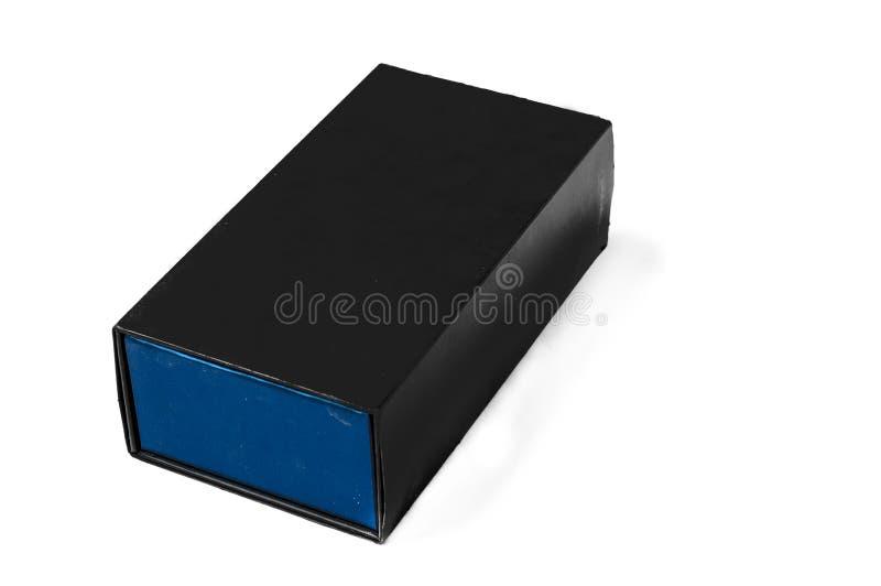 Elegancki czarny pudełko odizolowywający na białym tle, kopii przestrzeń obraz royalty free