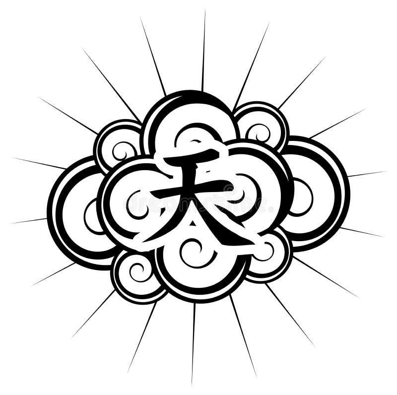 Elegancki czarny tatuaż z ideograma niebem odizolowywającym zdjęcie stock