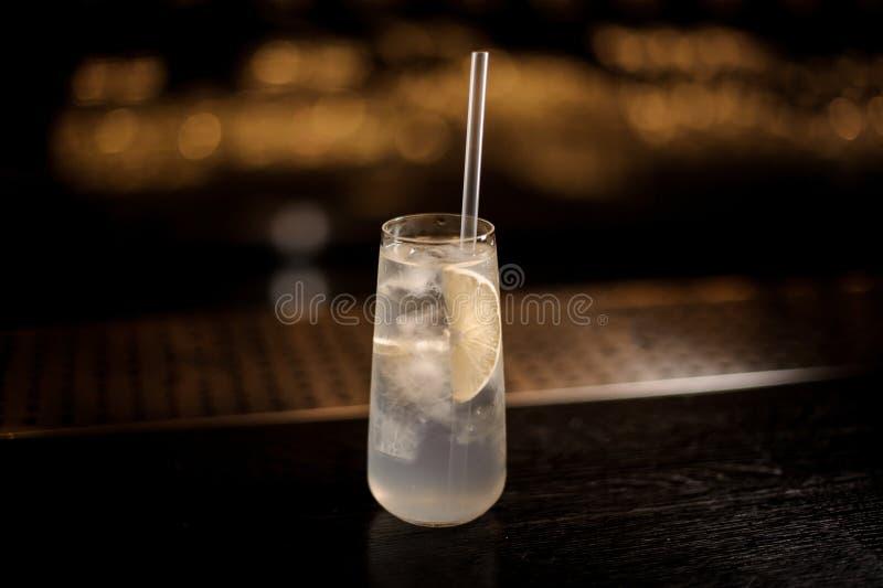 Elegancki długiego napoju szkło wypełniał z Tom Collins koktajlem na zdjęcia royalty free